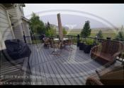 Elgin IL  Trex Island Mist Decking Trex Island Mist Fascia and Risers Trex Black Transcends Railings Black Square Aluminum Balusters PYD Caps
