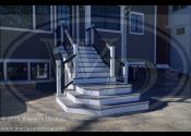 Downers Grove, IL 60515   Trex Island Mist Trex Trim White Fascia and Risers Trex Transcends Black Railings Trex Black Round Aluminum Balusters Trex Island Mist Vertical Skirting