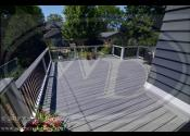 Elmhurst, IL 60126  Trex Transcends Island Mist Decking Trex Transcends Island Mist Border Trex Transcends Island Mist Vertical Skirting Trex Trim Fascia and Risers Trex Transcends White Posts & Railings Trex 1x6 Island Mist Cocktail Rail Trex Black Square Aluminum Balusters