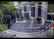 Glen Ellyn, IL  Trex Transcend Island Mist Decking Bent Clamshell Boarder Trex Transcend White Fascia Trex Black Aluminum Railings and Posts