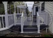 West Chicago, IL 60185  Trex Enhance Clam Shell Decking and Fascia Trex Transcend White Railings, Posts and Balusters Trex Cap Lights Trex Riser Lights Fiberglass Pergola