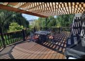 Aurora, IL  Trex Transcend Spiced Rum Decking and Fascia Trex Transcend Tree House Railing Trex Black Railings Trex Black Aluminum Balusters