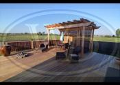 Plainfield, IL Treated Deck w/ Cedar Pergola & Bamboo Screen